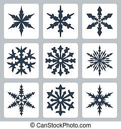 vecteur, ensemble, isolé, flocons neige, icônes