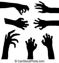 vecteur, ensemble, isolé, zombi, fond, mains, blanc