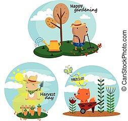 vecteur, ensemble, jardinage
