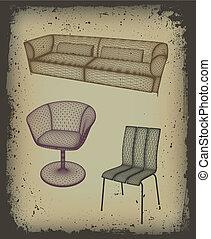vecteur, ensemble, meubles, grunge, frame., conception