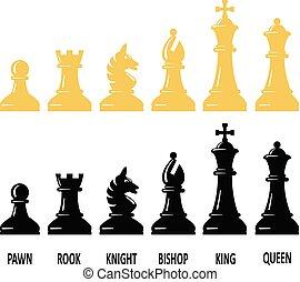 vecteur, ensemble, morceau échecs