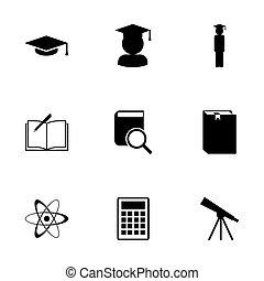vecteur, ensemble, noir, education, icône