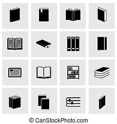 vecteur, ensemble, noir, livre, icône