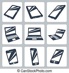 vecteur, ensemble, numérique, appareils, icônes