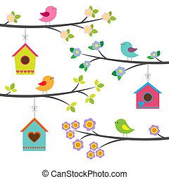 vecteur, ensemble, oiseaux, birdhouses.