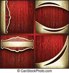 vecteur, ensemble, or, bois, fond, rouges