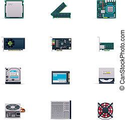 vecteur, ensemble, parties ordinateur, icône