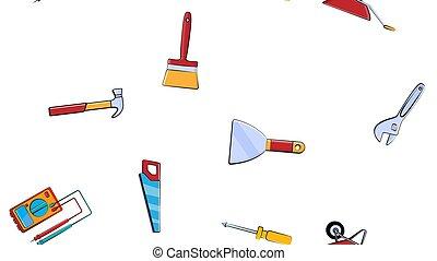 vecteur, ensemble, pelle, marteau, arrière-plan., testeur, modèle, échelle, seamless, illustration, repair:, chariot, clé, construction, scie, truelle, brosse, outils, blanc, tournevis, texture