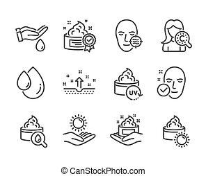 vecteur, ensemble, protection., icônes, peau, soleil, problème, tel, beauté, santé