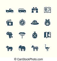 vecteur, ensemble, safari, icône