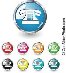 vecteur, ensemble, téléphone, icône