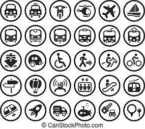 vecteur, ensemble, transport, icônes
