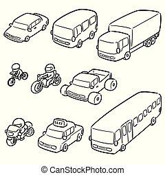 vecteur, ensemble, transport, véhicule