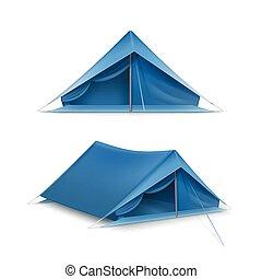vecteur, ensemble, ttourist, tentes