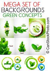 vecteur, ensemble, vert, mega, concepts