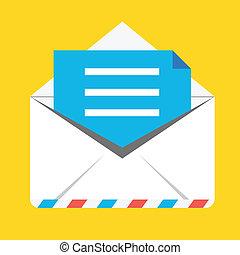 vecteur, enveloppe, ouvert, icône