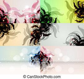 vecteur, eps10, résumé, illustration, fond, floral, élégant, ensemble