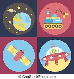 vecteur, espace, dessin animé, collection, icônes
