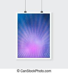 vecteur, espace extérieur, affiche, nébuleuse, néon, étoiles, retro, fl