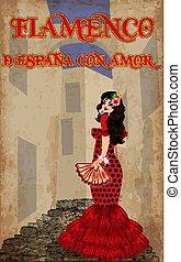 vecteur, espagnol, flamenco., girl, rue, danse, love., beau, espagne, illustration