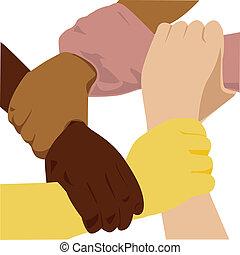 vecteur, ethnicité, main