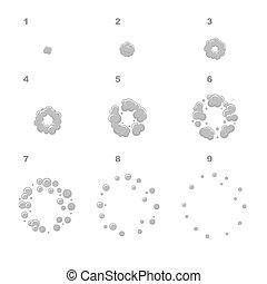 vecteur, explosion, frames., séquence, éclater, animation, dessin animé