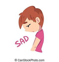 vecteur, expression, désordre, enfant, illustration, garçon, style, triste, dessin animé, facial