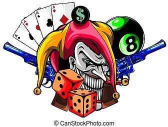 vecteur, fâché, dessiné, main, clown, illustration, fusils, isolated.