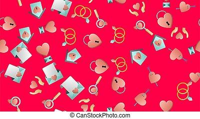 vecteur, fête, objets, modèle, rouges, arrière-plan., lunettes, coeur, lettres, interminable, maisons, flèches, beau, illustration, ensembles, seamless, tendre, amour, joyeux, magnifier