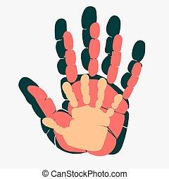 vecteur, family., homme, paume, femme, parenting, child., relationship., handprint, symbole