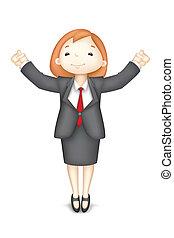 vecteur, femme, 3d, business, heureux