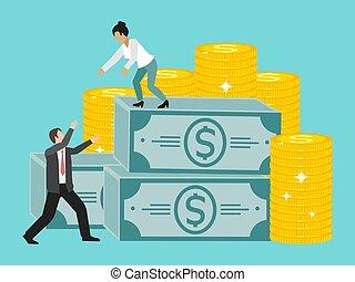 vecteur, femme affaires, meute, collaboration., montée, distribuer, portion, illustration., collègue, tient, elle, business, argent