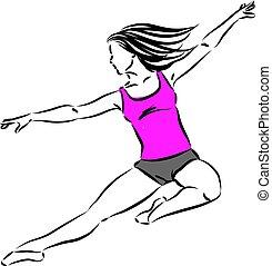 vecteur, femme, danseur, illustration
