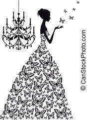 vecteur, femme, papillons