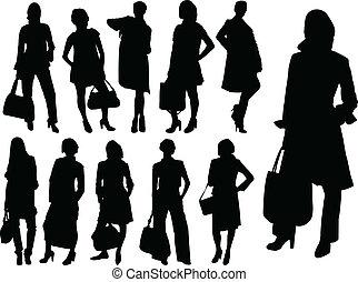 vecteur, -, femmes affaires