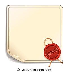 vecteur, feuille, cire, -, papier, cachet, approved., rouges