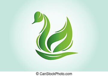 vecteur, feuille, icône, écologie, vert, logo, cygne