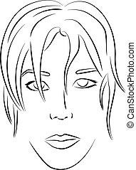 vecteur, figure, contour, femme, illustration