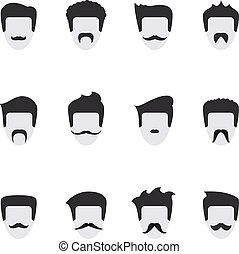 vecteur, figure, ensemble, moustache, icônes