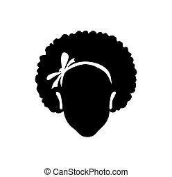 vecteur, figure, illustration, isolé, blanc, background..eps, silhouette, dessin, ruban, américain, cheveux, tête, bouclé, girl, africaine, arc, noir