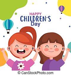 vecteur, filles, childrens, conception, heureux, jour, dessins animés