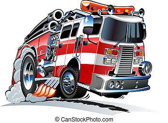 vecteur, firetruck, dessin animé
