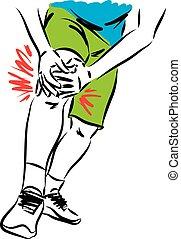 vecteur, fitness, illustration, douleur, genou, homme