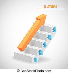 vecteur, flèche, escalier