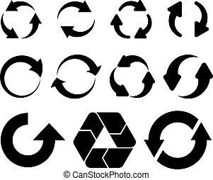 vecteur, flèches, circulaire