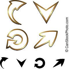 vecteur, flèches, or