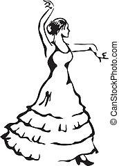 vecteur, flamenco, illustration., dancer.