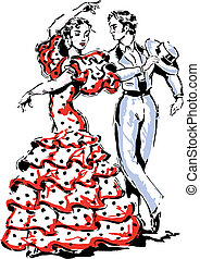 vecteur, flamenco, illustration, espagnol