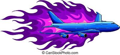 vecteur, flammes, avion, civil, illustration