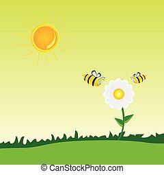 vecteur, fleur, art, illustration, abeille